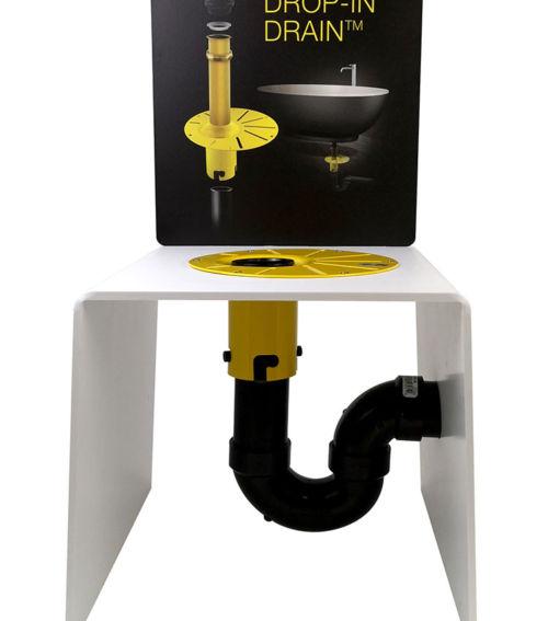 In-floor drain kit simplifies freestanding bath installation.  Comes in PVC or ABS